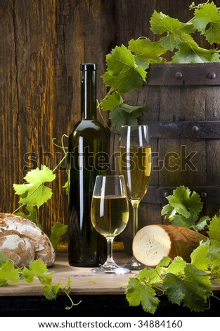the still life with wine
