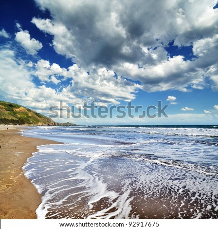 The Stinson beach afternoon with stormy clouds at background - stock photo