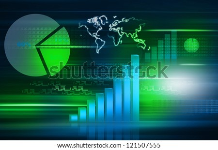 The Stock Market graph with  pie chart and world