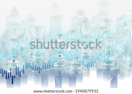The stock market. Stocks, funds.Background.The concept of investment leadership: chess pieces, the concept of business ideas and competition, and the strategic plan of the value of success. Photo stock ©