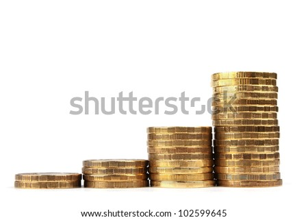 The Stock of Russian Coins on White Background