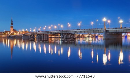 The Stone bridge across Daugava river in Riga, Latvia.