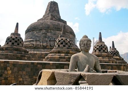 The stone Buddha of Borobudur temple - stock photo