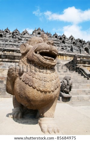 The stone lion of Borobudur temple