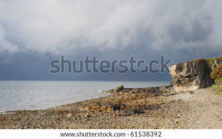 The stony beach and cliff features of Elgol, Isle of Skye