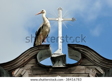 The stork costs near to a cross on a roof of a rural church