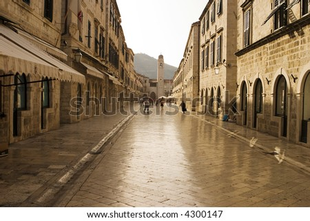 The Stradun (sometimes the Strada) is the main shopping street and gathering area in the city of Dubrovnik in Croatia. The cobblestones have been polished smooth over hundreds of years.