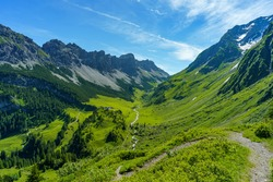 the stream flows under the bridge through the great valley of Walser with his steep stony mountain and the alpine green and flowered pastures from the three stage alpine farming. Austrian alpine scene