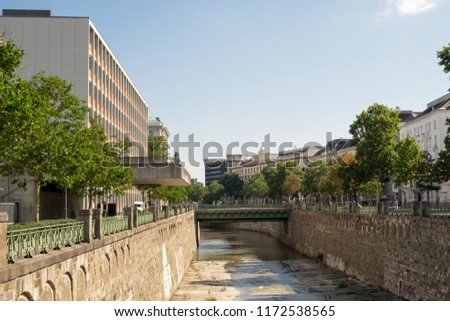 The street and the water canal in the historical center of Vienna