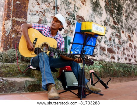 the street entertainer playing guitar