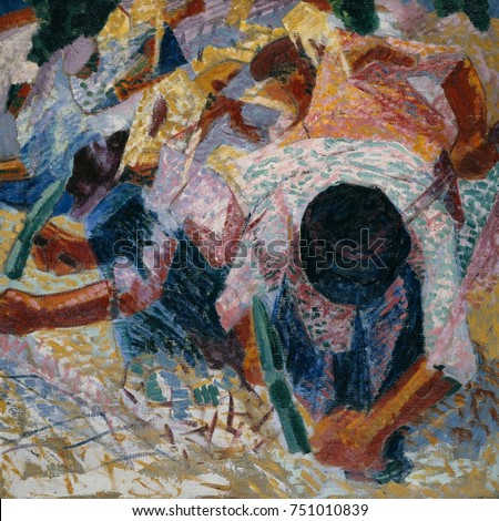 The Street Pavers, by Umberto Boccioni, 1914, Italian Futurist painting, oil on canvas. Bent over laborers pounding street stones with pickaxes are painted in a synthesis of pointillism and Cubism. T