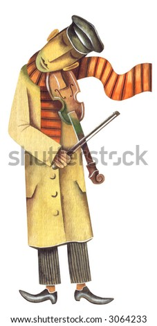 The street sad violinist. Illustration by Eugene Ivanov.