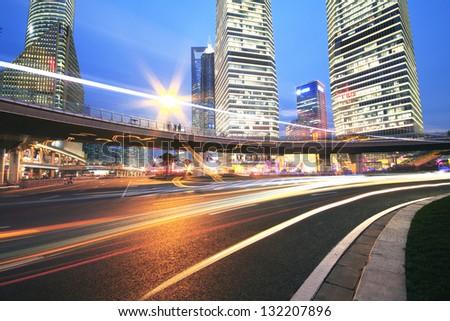 The street scene of the century avenue at night in shanghai,China - stock photo