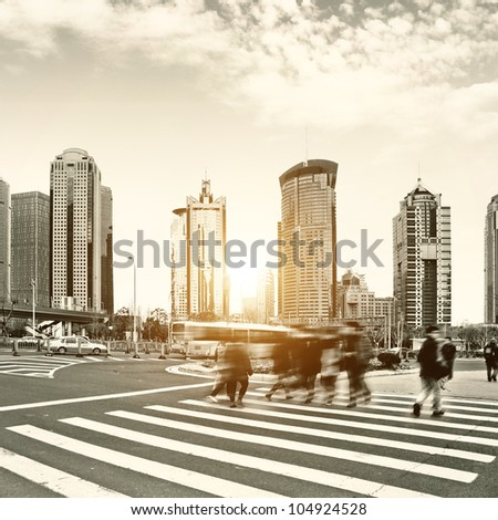 the street scene of the century avenue in shanghai,China.