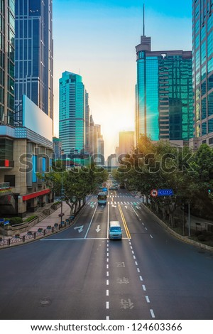 the street scene of the huaihai road at morning in shanghai,China