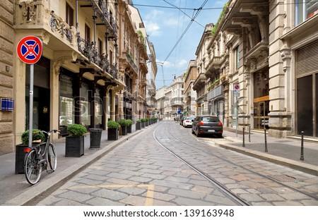 stock photo the street with ancient buildings in the center of milan italy 139163948 - Каталог — Фотообои «Улицы, переулки»