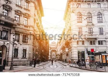 The street with ancient buildings in the center of Milan, Italy #717475318