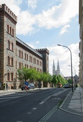 The street with the view to the Church of St. Peter and Paul in the German part of Görlitz city.