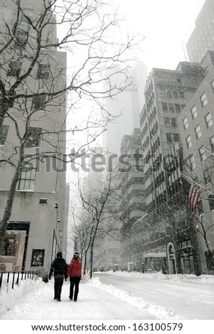 the streets in the city were covered with snow