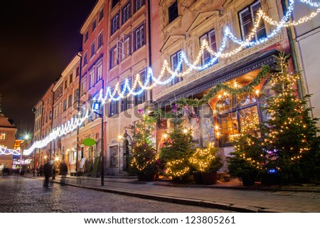 The streets of the old city during the holidays. Warsaw Poland