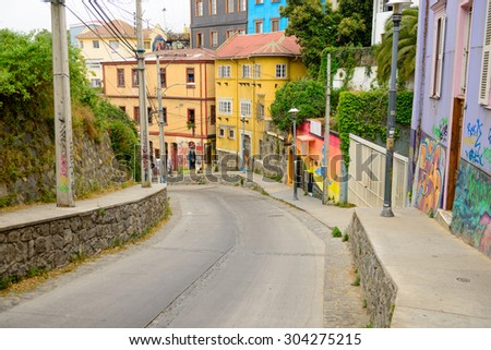 The streets of Valparaiso, Chile #304275215