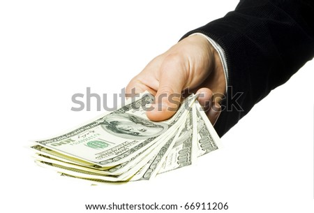 The stretched man's hand with dollars on a white background