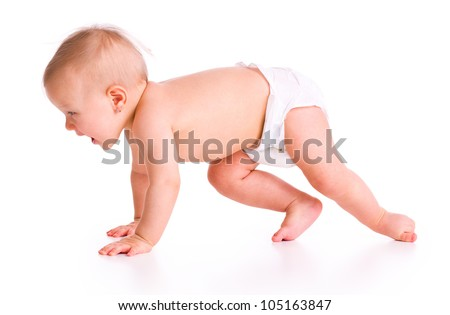 the studio shot of baby crawling