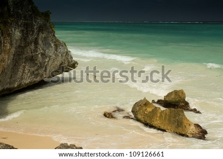 The stunning beach and stones at Tulum, near Cancun, Mayan Riviera in Mexico