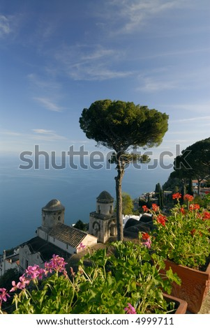 The stunning view from Ravello over the Amalfi gulf, Campania, Italy. - stock photo