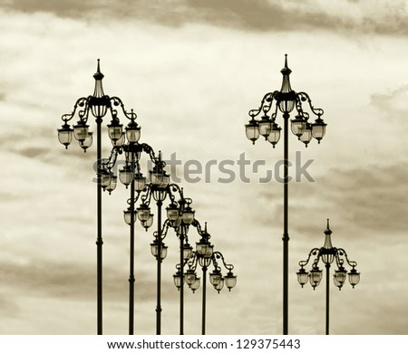 The style of old lamps on the bridge near the Moscow Kremlin (stylized retro)