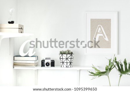 The stylish interior with concept shelfs, mock up poster frame and cactus in hipster pot. Modern room with white walls. #1095399650