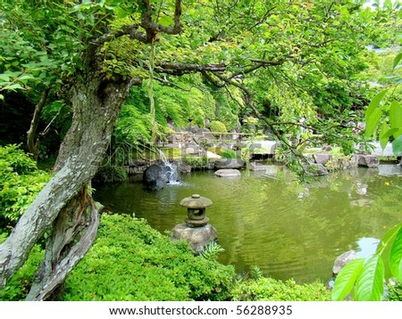 The sublime nature of the Buddhist temple Hase-dera gardens in Kamakura, Japan
