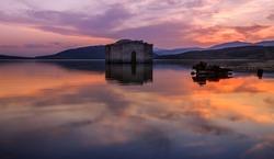 The submerged church of Zhrebchevo dam, Bulgaria