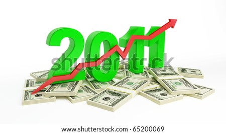 the successful growth of profits in the business in 2011 - stock photo
