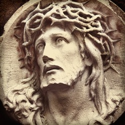 the suffering of Jesus Christ. Fragment of the statue. (Sadness, regret, fear, faith, religion)