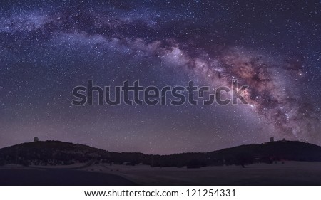 The summer Milky Way rises over the MacDonald Observatory near Fort Davis, Texas.