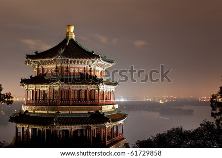 The Summer Palace at night in Beijing, China