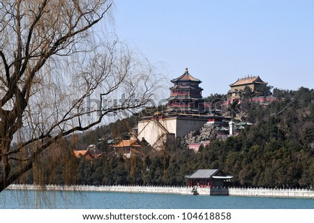 The Summer Palace lake in Beijing, China.
