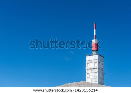 The summit of Mont Ventoux includes a disused meteorological research station and telecommunications masts. #1423156214