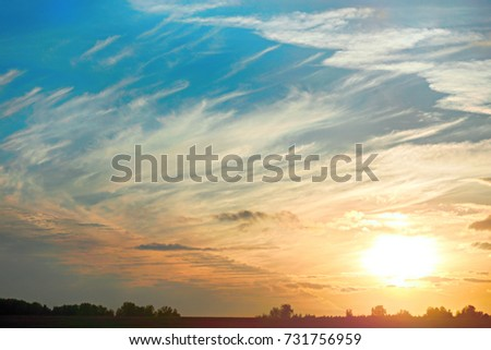 the sun against the cloudy blue sky and a field with trees on sunset #731756959
