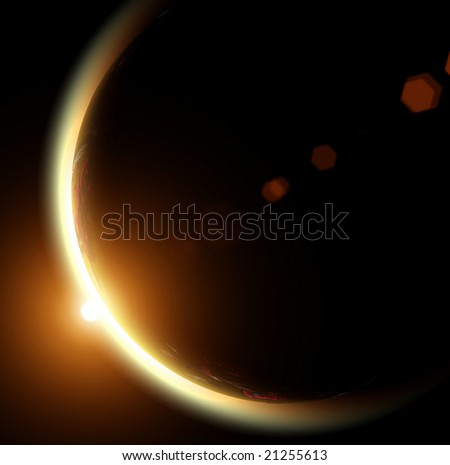 The Sun and Earth on a black background