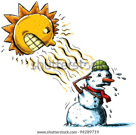 The sun attacks a snowman with rays of heat.