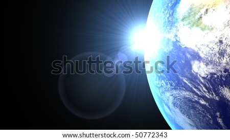 The sun back the earth with his blue ray