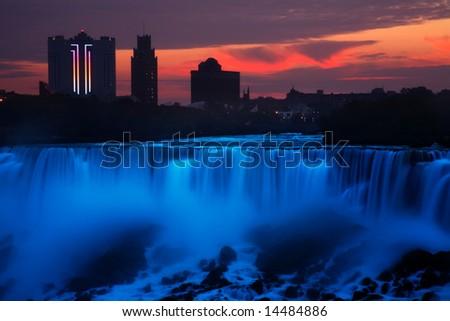The Sun Begins To Intrude On The Pre-Dawn Solitude Over The American Falls, Niagara Falls, New York