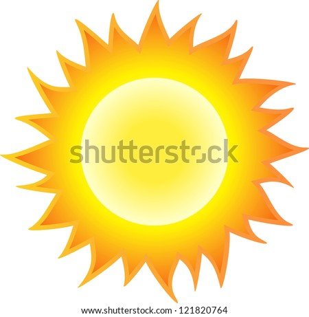 The sun burning like flame. Isolated on white background
