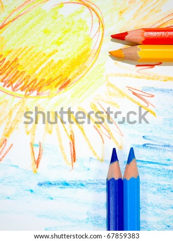 The sun drawn by hands and the sky with pencils.