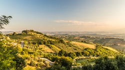 The sun goes down on the italian countryside