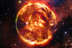 The Sun is the star at the center of the Solar System. Elements of this image furnished by NASA