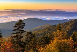 The sun rises over the Smoky Mountains at Clingman's Dome in Great Smoky Mountains National Park, Tennessee