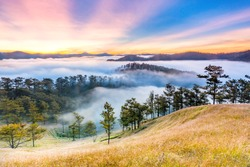 The sun rises with beautiful colors at highland in Da Lat - Viet Nam